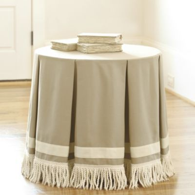 Round Pleated Party Tablecloth With Bullion Fringe