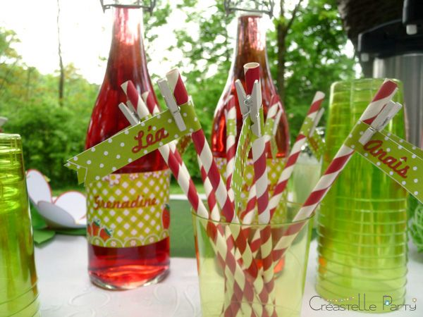 CreastelleParty - Fraise Kawaii - étiquettes de paille / Kawaii Strawberry - straw labels