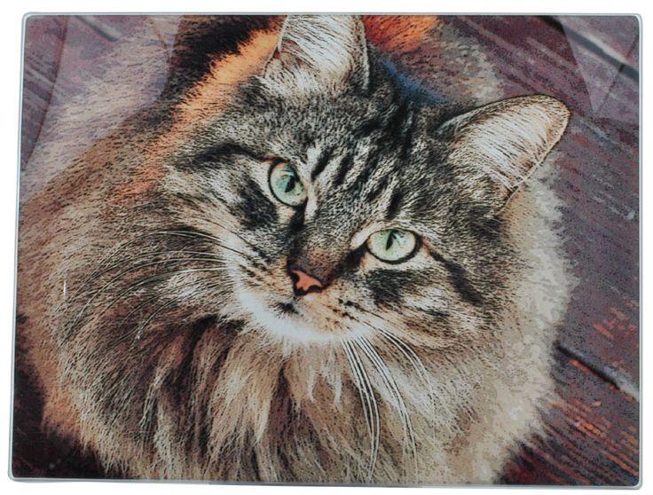 Tabby Cat Design Glass Cutting Chopping Board....$17.95