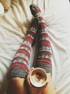 I would wear these with a cute gray skirt and some boots. I love these because they look super cozy, I love knee high socks and I love the pattern.