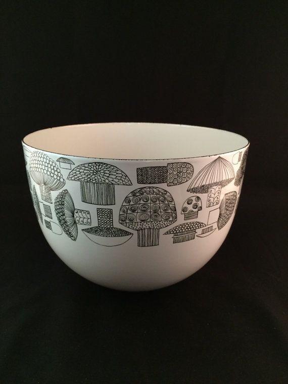 Finel Mushroom Pattern Enamel Bowl - made in Finland
