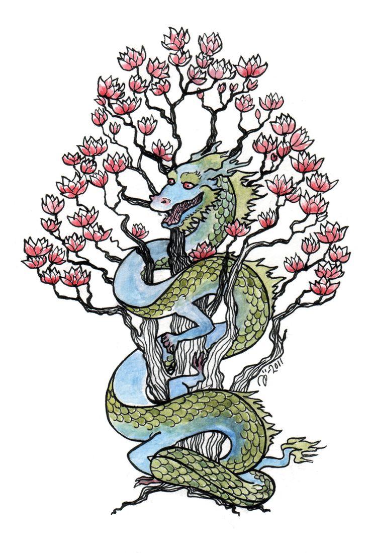 грудь драконы и сакура картинки горах мужика килте