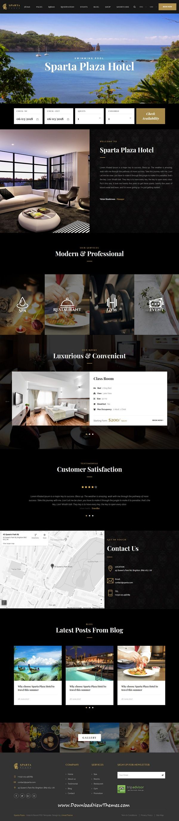 Sparta is clean and modern design responsive HTML5 bootstrap #template for #hotels and #resorts beautiful website to live preview & download click on image or Visit 👆 #webdesign