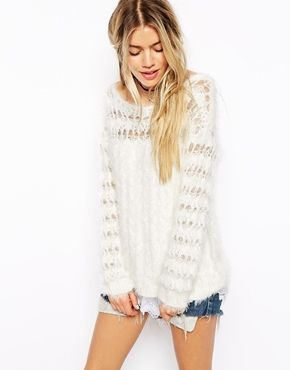 Enlarge ASOS Knitted Fluffy Sweater with Lace Hem