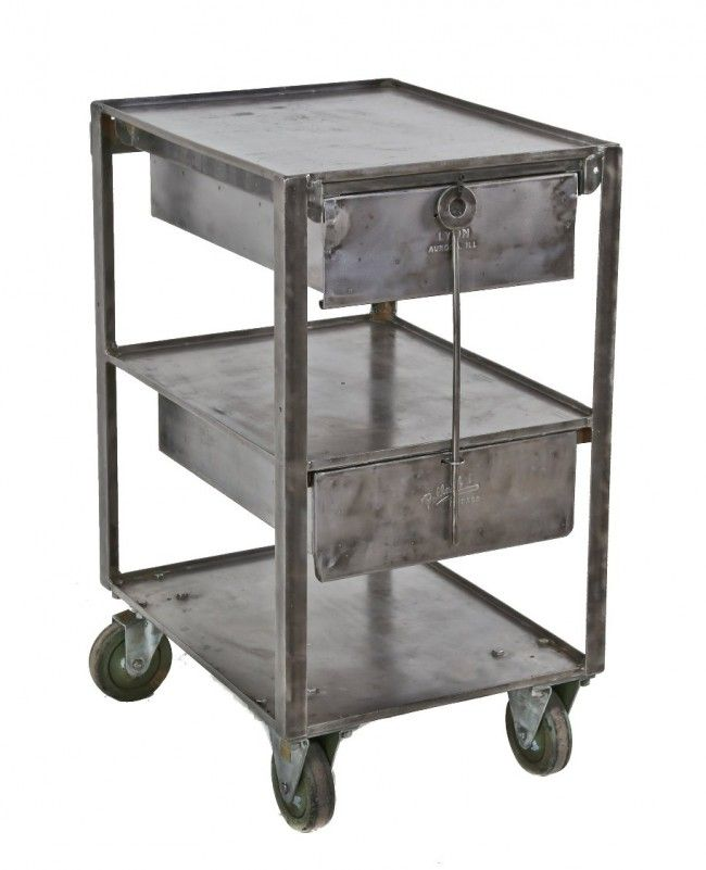 C 1950 39 s american industrial pressed and folded heavy gauge steel mobile shop cart with pull - Industrial look mobel ...