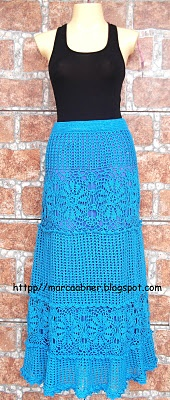 Beautiful blue crochet long maxi skirt or dress!  -Lee Ann H  Http://cgli.us  Crochetgottaloveit.blogspot.com
