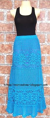 Beautiful blue crochet long maxi skirt or dress!  -Lee Ann H  Http://cgli.us  Crochetgottaloveit.blogspot.com