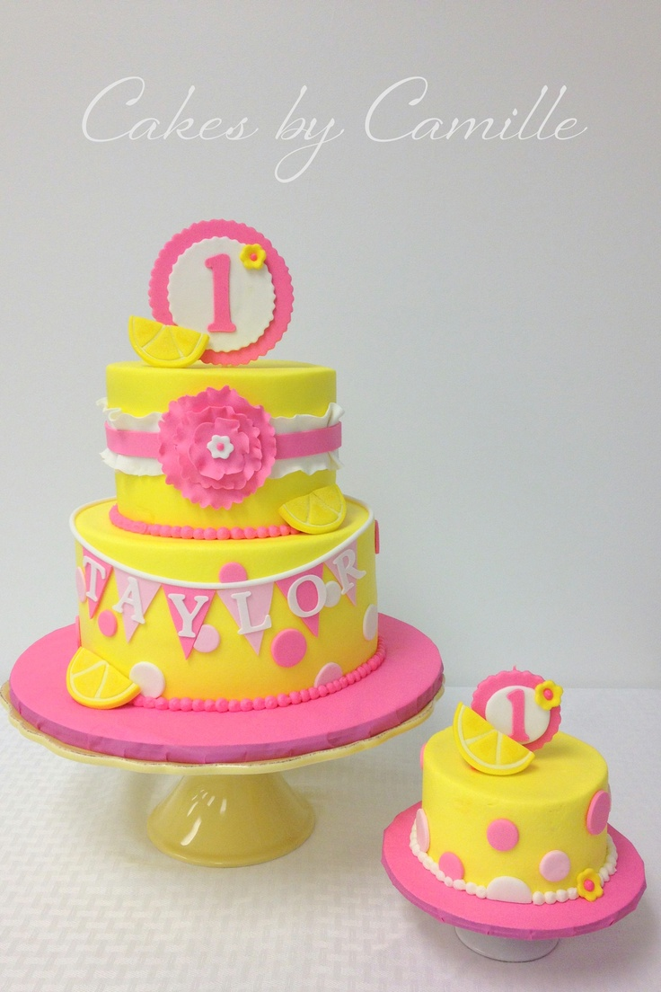 Pink Lemonade 1st Birthday Cake With