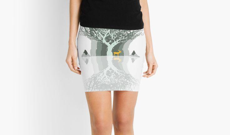 Frozen Reflection - Daylight by jollybirddesign #tree #stag #frozen #reflection #skirt