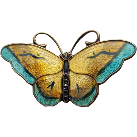 Sterling butterfly pin enamel guilloche by David Anderson of Norway circa 1955. Measurements in inches: 1-1/2 inches X 7/8 inches.  Bargain listings