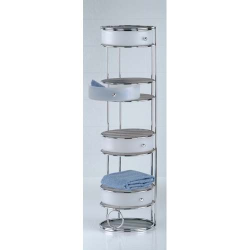 FOUR DRAWER CHROME FLOOR STANDING STORAGE TOWER | Get