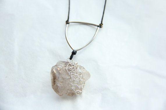 Wire woven Smoky Quartz crystal necklace by Somsri on Etsy, $50.00 #Jewelry #Necklace #Stone #Crystal #Jewellery  #Handmade #Handmadejewellery #Handmadejewelry #Gemstone #Pendant #Wirewrapped #Smoky #SmokyQuartz #Quartz #Somsri #Greyquartz