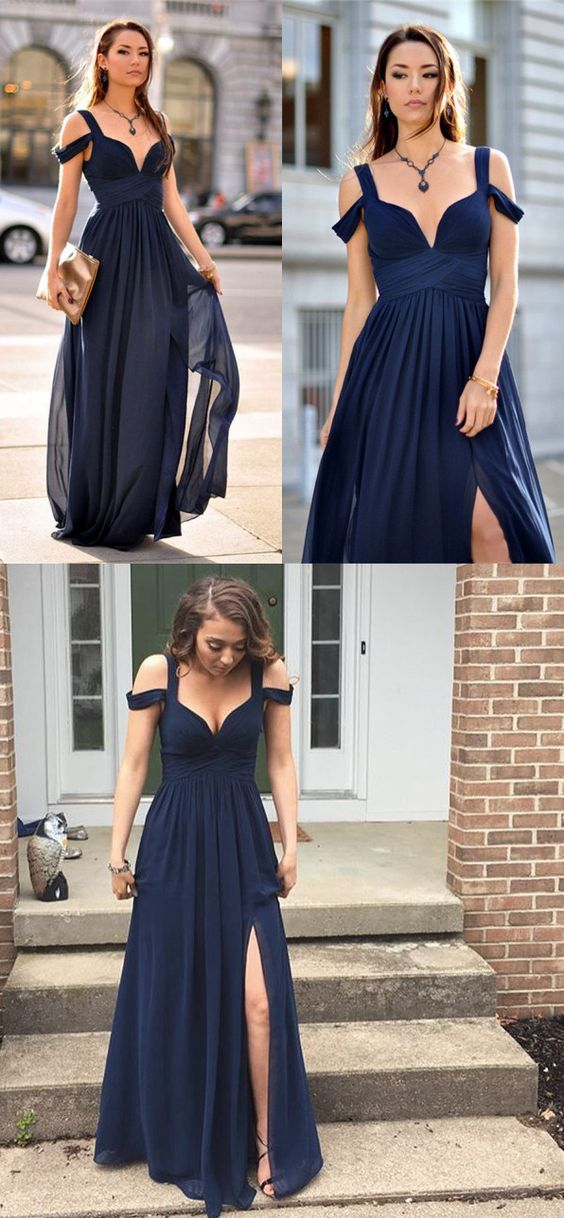 prom dresses, simple navy prom party dresses, chic cap sleeves long split evening dresses, cheap prom dresses 2017, vestidos