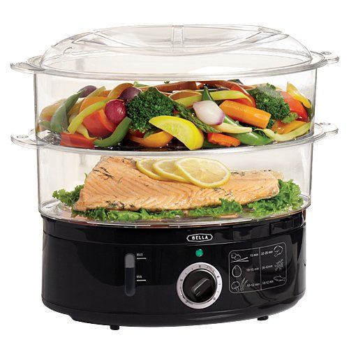 BELLA 2 tier plastic electric food steamer with removable tier for steaming small quantities of food, cooks 16 eggs. External inlet allows you to add water without interruption, auto shut off....