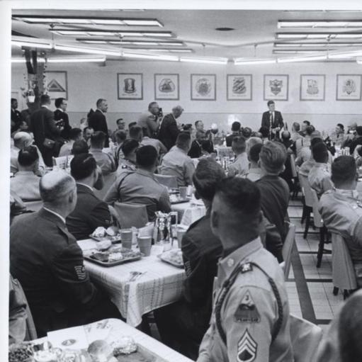 President Kennedy addresses American Troops in the Army Mess Hall at Hanau Military Base near Frankfurt...When he joined them for lunch, 06/25/1963...