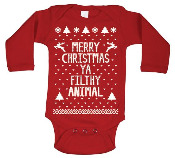"""For Holden!!! """"MERRY CHRISTMAS YA FILTHY ANIMAL BABIES Soft Cotton Long Sleeve One-Piece.  *Officially Licensed*"""