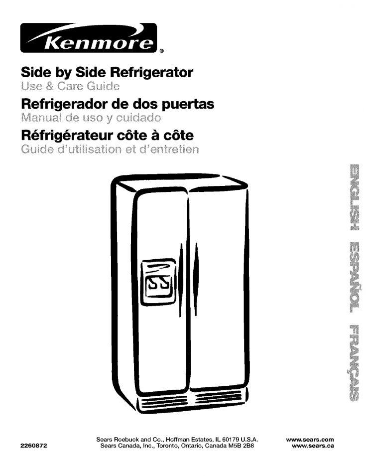 Kenmore 10653384300 Refrigerator User Manual