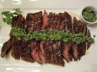 Soy-Marinated Flank Steak with Asian Pesto and Wasabi-Mashed Potatoes ...