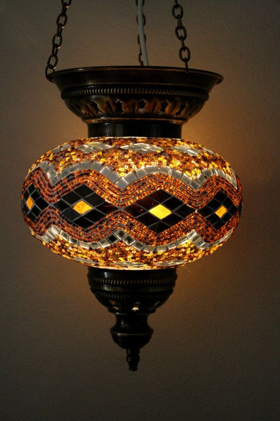 Extra Large Turkish Moroccan Mosaic Hanging Lamp by TurkishBits