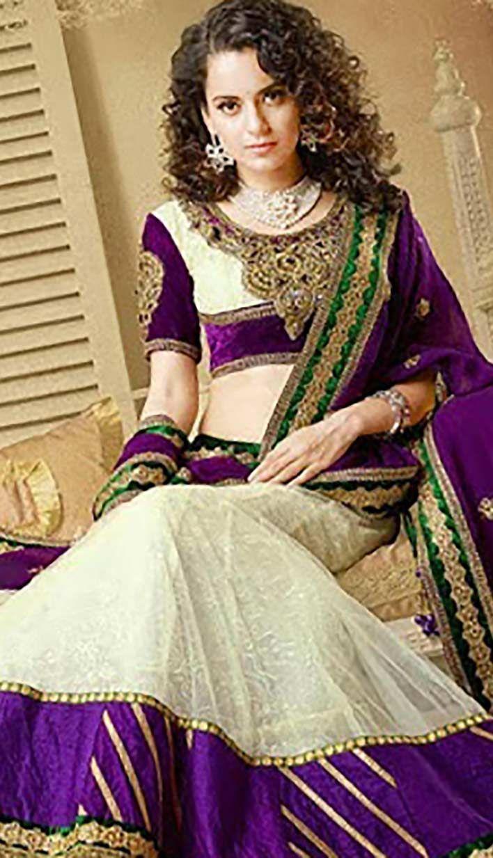 Shop Beautiful Wedding Cream Georgette Designer #Lehenga #Choli  Product code: KBL-42556-CA Price: INR 14791 (Unstitch Blouse), Color: Cream Shop Online now: http://www.efello.ca/Bridal_Fashionable-Indian-Cream-Nett-Brasso-Designer-Lehenga-Choli_142745