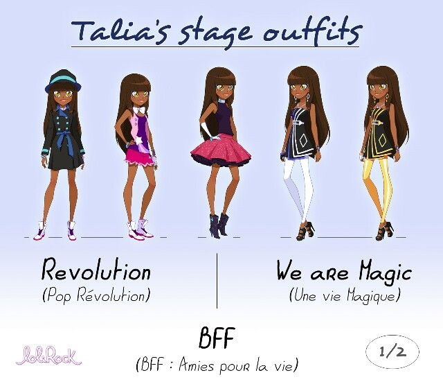 Talia's stage outfits