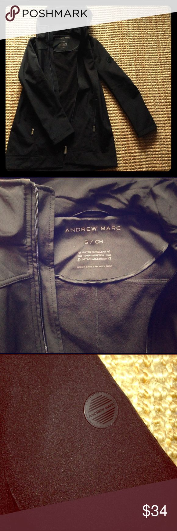 Andrew Marc softshell coat EUC. Black, softshell. 4-way stretch. Water repellent. Detachable hood. Only worn once! Andrew Marc Jackets & Coats Utility Jackets