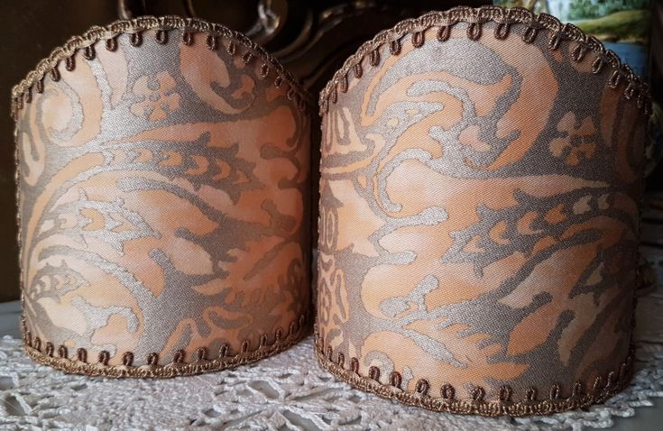 Pair of  Wall Sconce Clip-On Shield Shades Fortuny Fabric Apricot Monotones & Silvery Gold Campanelle Pattern Mini Lampshade - Made in Italy by OggettiVeneziani on Etsy