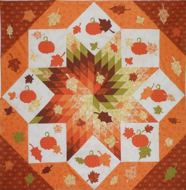 Fall Frenzy Spiral Lone Star Quilt Pattern With Pumpkins