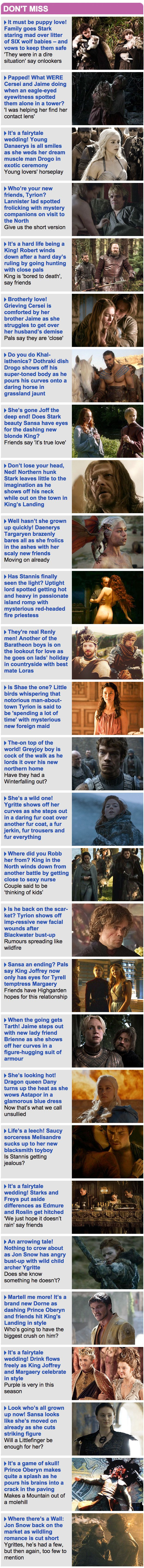 """""""Game Of Thrones"""" As Told By The Daily Mail Sidebar Of Shame"""