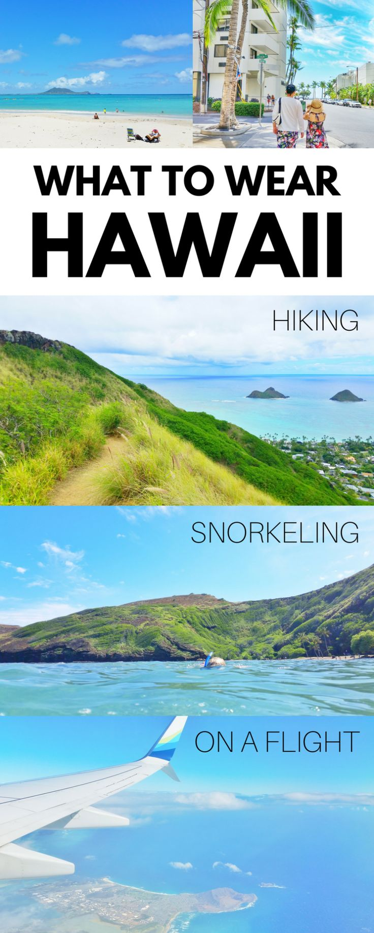 Hawaii packing tips with what to wear in Hawaii, what to pack for travel packing list, whether vacation is Oahu, Maui, Kauai, or Big Island! List of ideas, when planning on some things to do for outdoor travel destination in the USA as part of your world bucket list! Hiking, beach, snorkeling are budget activities free or cheap compared to some tours! What to wear to luau, on a flight to Hawaii, outfits, fitness active vacation.. #hawaii #oahu #maui #kauai #bigisland
