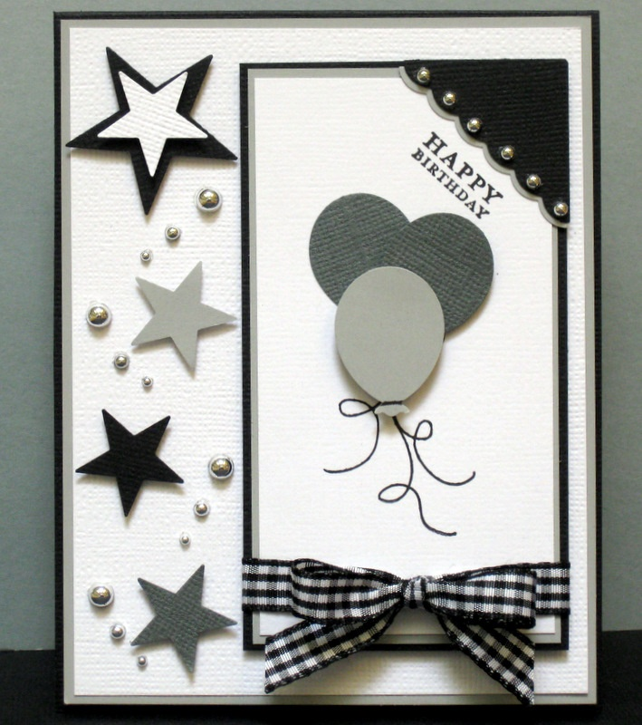 Happy Birthday card, balloons and stars