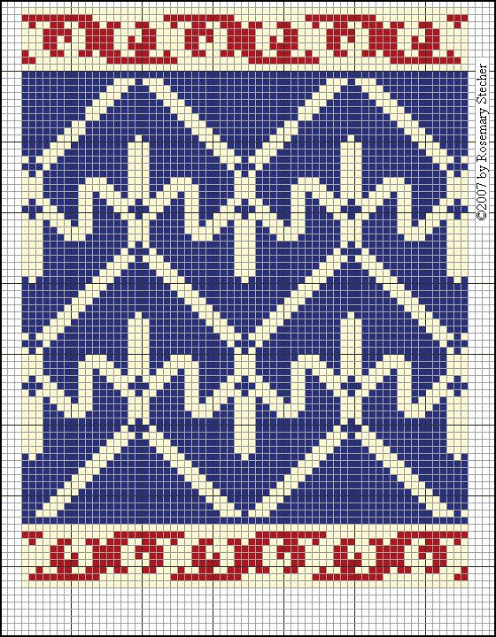 Medieval Middle Eastern Cross Stitch Embroidery, graphed by Rosemary Stecher