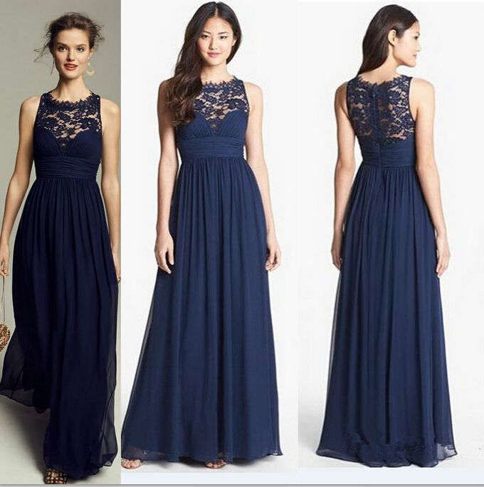 Cheap lace plus size wedding dress, Buy Quality lace halter directly from China lace choker dress Suppliers: 	Vestidos 2015 Navy Blue Chiffon and Lace Bridesmaid Dress for Wedding Prom Party Dress 			  	If the standard