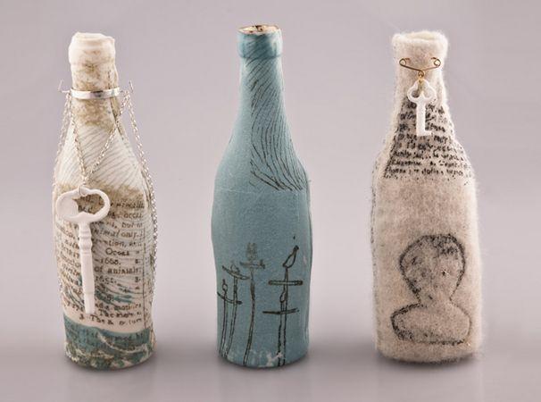 Katherine Lees | Manchester School of Art Degree Show 2012. Felt over porcelain bottles.