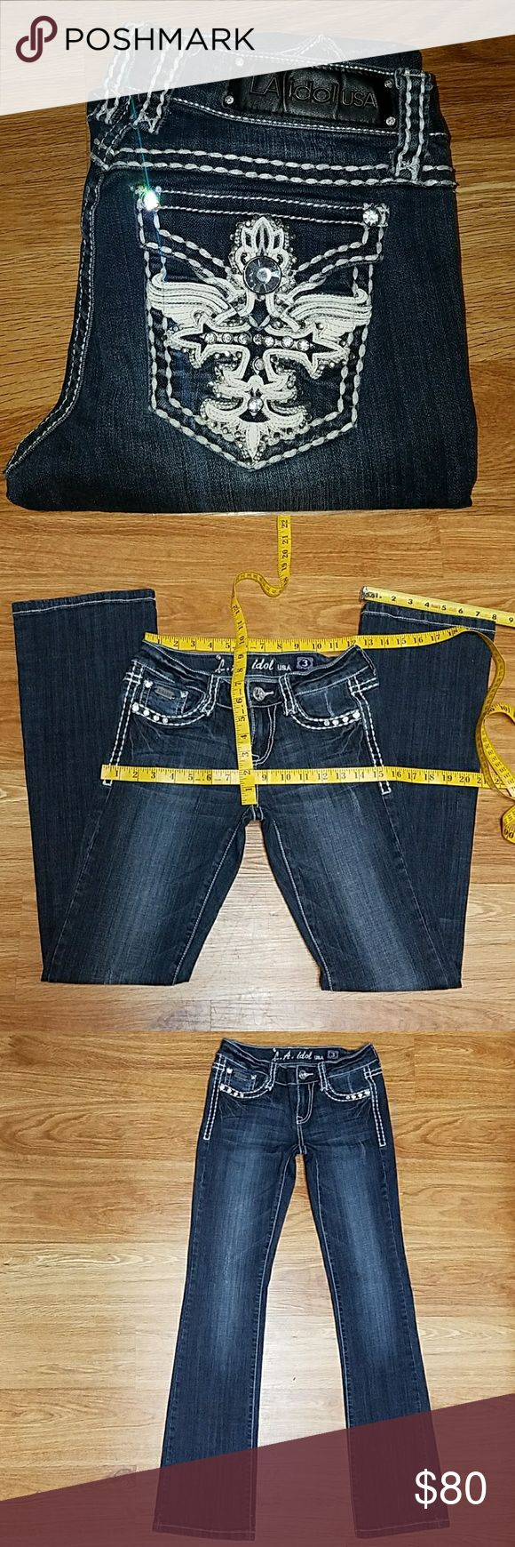 LA idol Jeans (Rescued/Thrifted) Like New LA idol Jeans usa 1-item  Size-3 Inseam - (32 inches, Rmesured)(says L:34)  Back rise - 12 inches  (Sizes may very depending on style and Brands)(please refer to pics) 97% Cotton  3% ELASTAN  Rn# 81005 LA idol Jeans USA! Soft beautiful fabric! Great Quality, like new, As is. No returns.💎BLING!  BLING! 💎Stored in dark dry storage excellent quality. Buy with confidence! Thank you for your purchases! 😄 LA idol usa Jeans Boot Cut