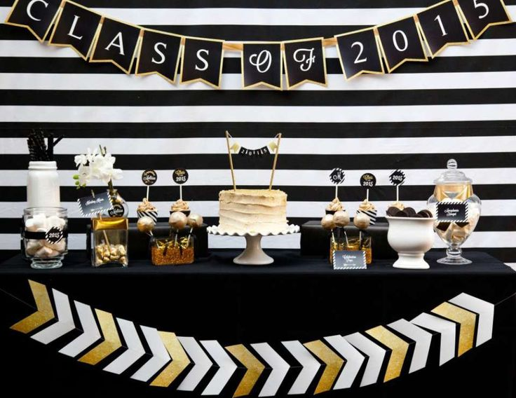 "Graduation Party Dessert Table | Black and Gold Graduation Party / Graduation/End of School ""Black and ..."