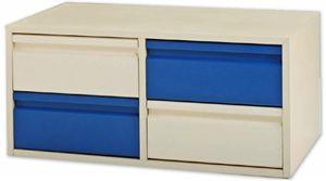 Cajonera dividida en 2 filas de 2 cajones en colores Sicomoro y azul.