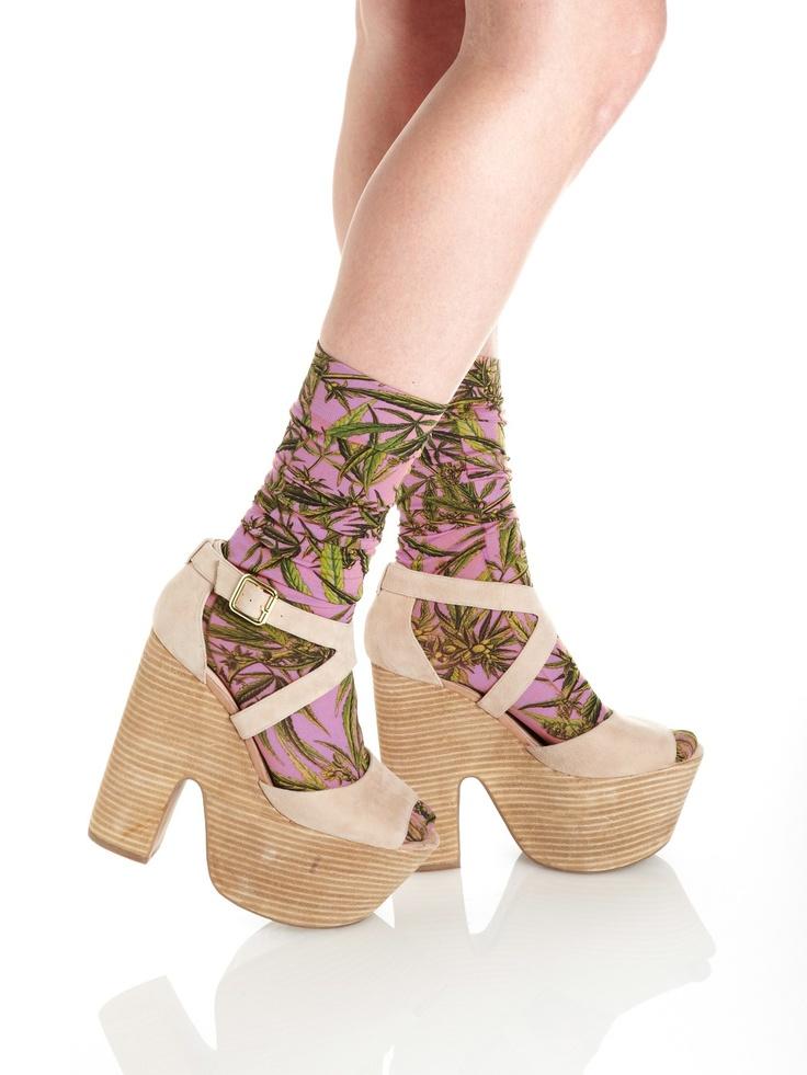 Refinery29 Shops: Strathcona Purple Mary Jane Printed Socks - Strathcona - Boutiques