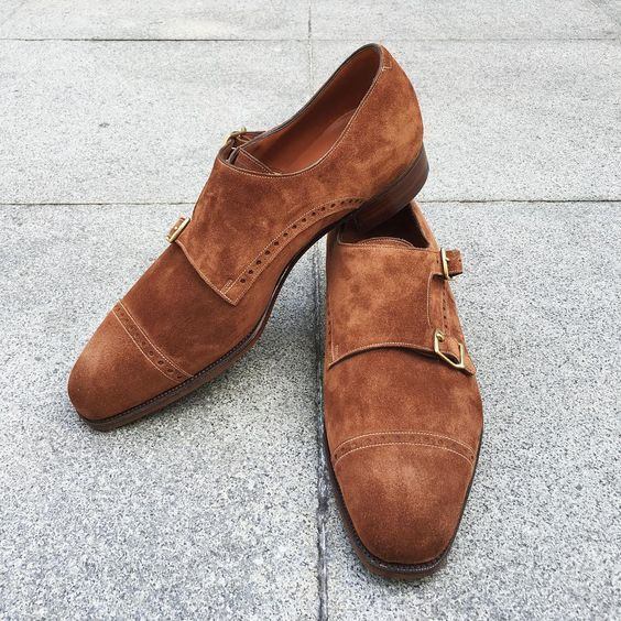 New Double Monk Woven Leather Shoes, Handmade Brown Formal Cap Toe Dress Shoes - Dress/Formal