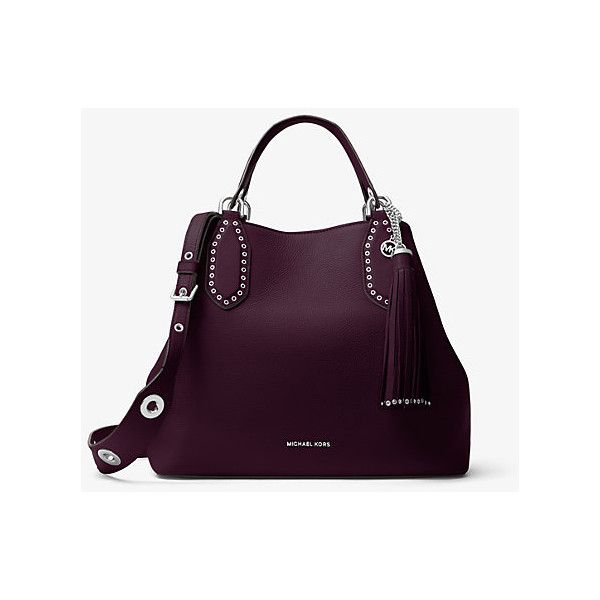 MICHAEL Michael Kors MICHAEL Michael Kors Brooklyn Large Leather Tote ($498) ❤ liked on Polyvore featuring bags, handbags, tote bags, purple, leather tote handbags, leather handbag tote, leather tote bags, leather tote purse and purple tote
