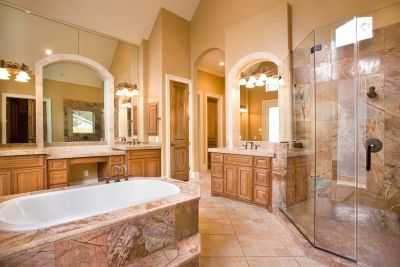 Stunning and luxurious master bathroom with top-of-the-line features + amenities.