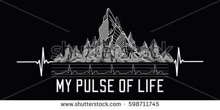 Mountains tattoo art, t-shirt design, slogan my pulse of life. Symbol travel, tourism, extreme sports and rock climbing, tribal style