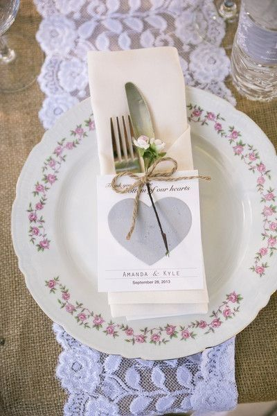 Vintage wedding place setting idea - lace + burlap table runner, vintage plates + thank you note {Michael Anthony Photography}