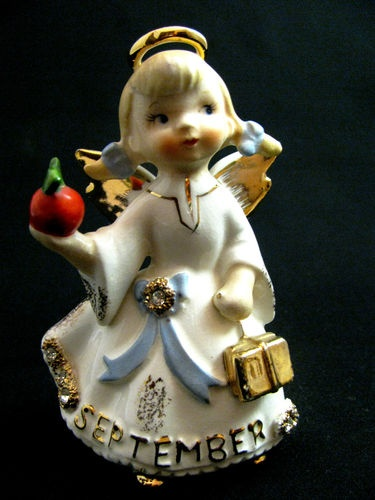 Vintage Lefton September  Birthday Angel   with Books and Apple #1987J  1950's