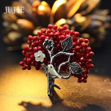 JUJIE Red Rhinestone Bird Brooches For Women 2017 Brooch Female Silver Plated Aolly Plant Pins Brooches Fashion Brand Jewelry(China (Mainland))