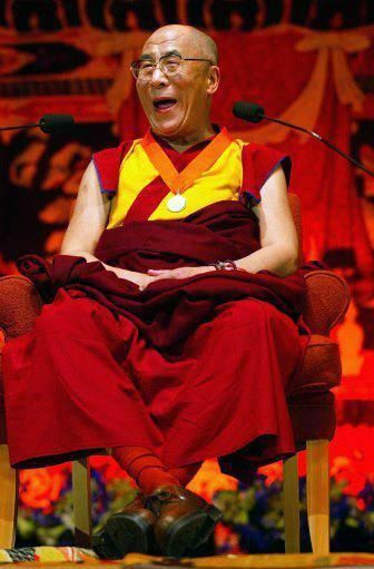 """""""I have been confronted with many difficulties throughout the course of my life... but I laugh often, and my laughter is contagious. Of course problems are there, but thinking only of the negative aspect doesn't help to find solutions, and it destroys peace of mind. This attitude comes to me, from my practice."""" ~ HH the 14th Dalai Lama"""