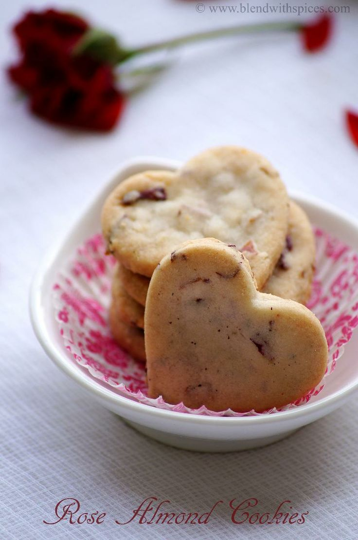 Rose Almond Cookies Recipe ~ Valentine's Day Special Recipes | Indian Cuisine