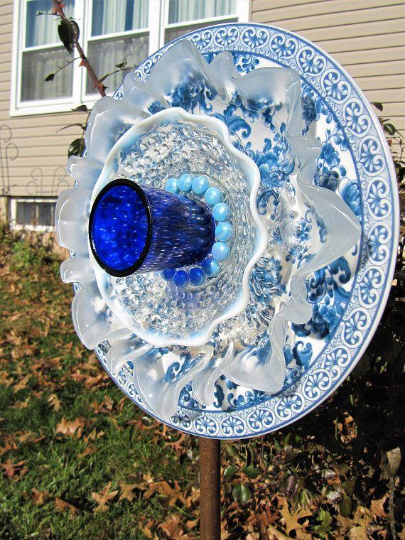 glass garden art-Flower stakes-yard art-glass garden