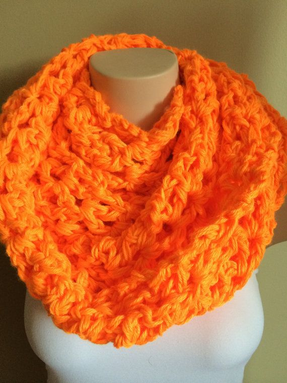 iScarf  Long Crocheted Infinity Scarf  Neon Orange by iHooked, $30.00