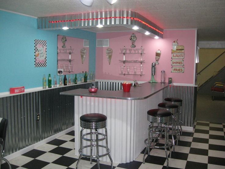 47 best images about 50s diner kitchens on pinterest for Retro basement ideas